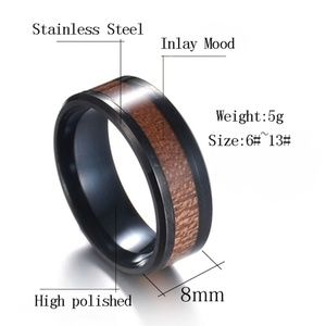 Other - 3/$30 Stainless Steel Koa Wood 8MM Ring Band